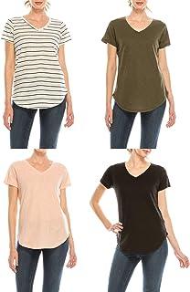 Urban Diction 4 Pack Women's V-Neck Stretch Short Sleeve T-Shirts (Stripes - Olive - Peach - Black)