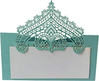 100 Pcs Table Place Cards with White Inserts - Crown Tent Cards Name Cards for Wedding, Banquets, Buffet, Baby Shower, Bridal Shower, Birthday Party, Meetings, Dinners (Tiffany Blue)
