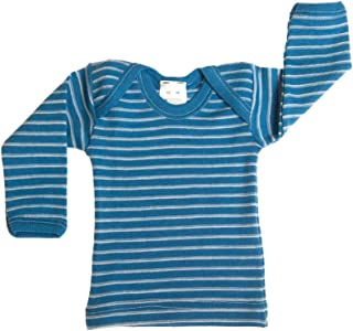 Hocosa Organic Merino Wool Baby Shirt, Long Sleeves, Envelope Neckline.