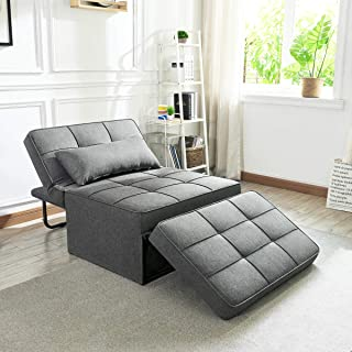 Vonanda Sofa Bed, Folding Single Sleeper Chair Modern Upholstered Convertible Couch Lounger Bed with Pillow for Small Space, Dark Gray