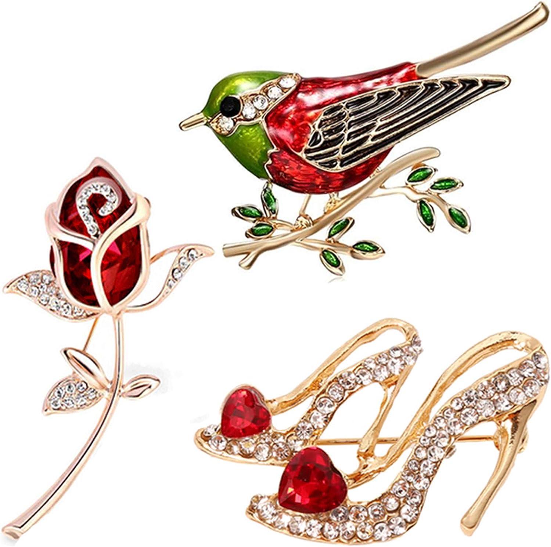 SONGLIN 3pcs Multicolor Red Rhinestone Crystal Bird Flower High Heels Brooch Pin Set for Women