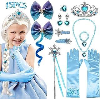 Princess Wig Frozen Elsa Tiara Necklace Gloves Elsa Dress Up Costume Accessories