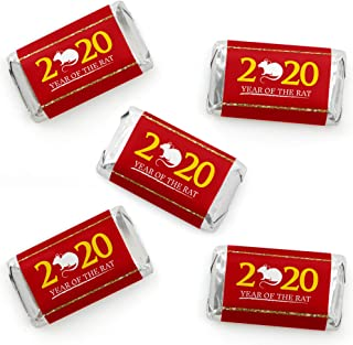Big Dot of Happiness Chinese New Year - Mini Candy Bar Wrapper Stickers - 2020 Year of the Rat Party Small Favors - 40 Count