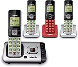 $73 » VTech 4 Handset Cordless Phone with Answering System and Caller ID 3 handsets Silver and 1 red