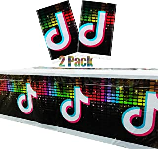 2PCS Tik Tok Party Table Cloth, Disposable Tik Tok Plastic Table Cover, Tik Tok Party Supplier and Decorations for Kids fo...