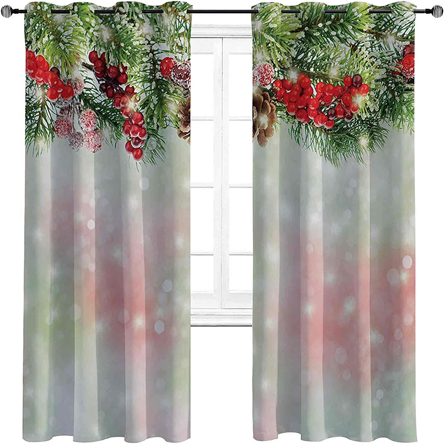 Christmas SEAL limited product High-Strength Blackout Curtains Evergreen Fir Branche Direct store