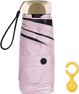 Vicloon Mini Ombrello, Ombrello Tascabile con Manico Dorato & 6 Nervature in Lega di Alluminio, Portatile Compatto Pieghev...