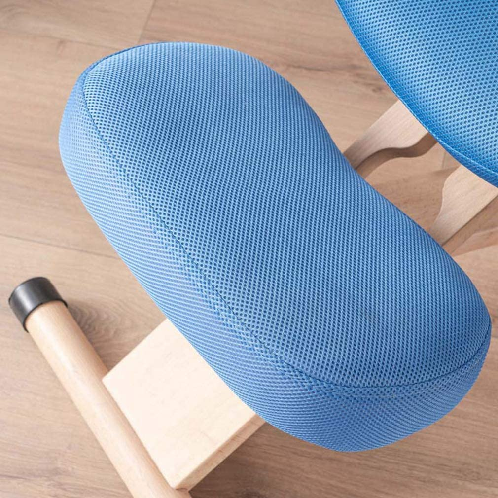 FHKBB Chaise à Genoux Ergonomique avec Support Dorsal - Tabouret en Bois de Chaise de Bureau réglable, soulageant Les douleurs au Dos et au Cou et améliorant la Posture, Rouge Blue