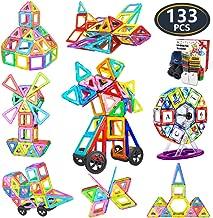 Jasonwell 133Pcs Magnetic Tiles Building Blocks Set for Boys Girls Preschool Educational Construction Kit Magnet Stacking Toys for Kids Toddlers Children Age 3 4 5 6 7 8 Year Old