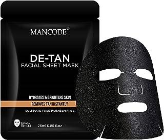 Mancode De-Tan Facial Sheet Mask - 25ml | Instant Tan Removal | Hydrates Brightens Skin | Improves Skin Tone | Promotes Gl...