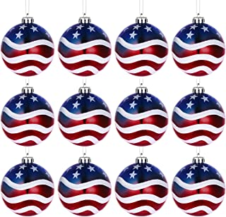 LUOEM July of 4th Ball Hanging Independence Day Party Decor Patriotic Ball Ornaments Holiday Wedding Tree Decorations,Pack of 12