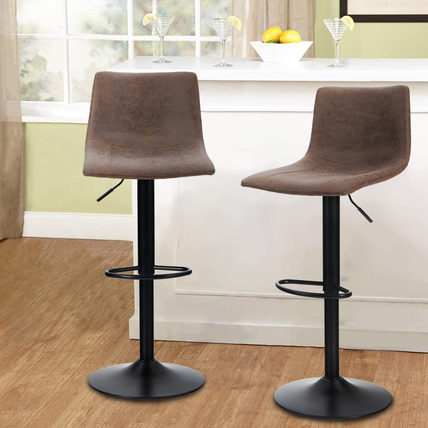 MAISON ARTS Swivel Bar Stools Set of 9 for Kitchen Counter Adjustable  Counter Height Bar Chairs with Back Tall Barstools PU Leather Kitchen  Island ...