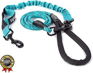 senye Dog Leash for Large & Medium Dogs - Heavy Duty Rope Leash with Anti-Pull Bungee for Shock Absorption for Dog Training and Walking - Double Handle Reflective Leash, Blue