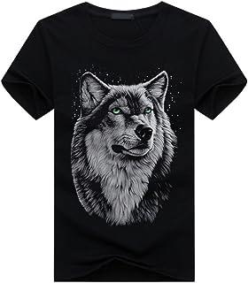 CHROME CRANE(クロム クレイン) 半袖 3Dプリント Tシャツ ウルフ プリント 狼 柄 カジュアル ストリート メンズ TSP001