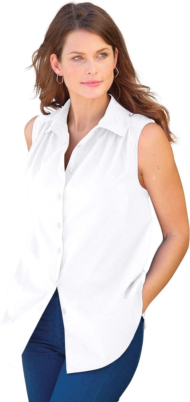 Roamans Women's Plus Size Sleeveless Kate Big Shirt Button Down Shirt Blouse