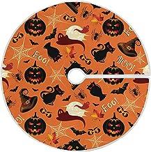 Dussdil Halloween Pumpkin Ghost Bat Christmas Tree Skirt 35.4 in Cat Owl Moon Spider Webs Halloween Tree Skirts Holiday Pa...