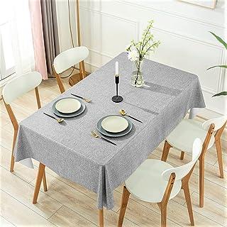 DARUITE PVC bordsduk vattentät avtorkbar, grå grovt linneutseende plast bordsduk rektangulär 137 x 240 cm för utomhus, mat...