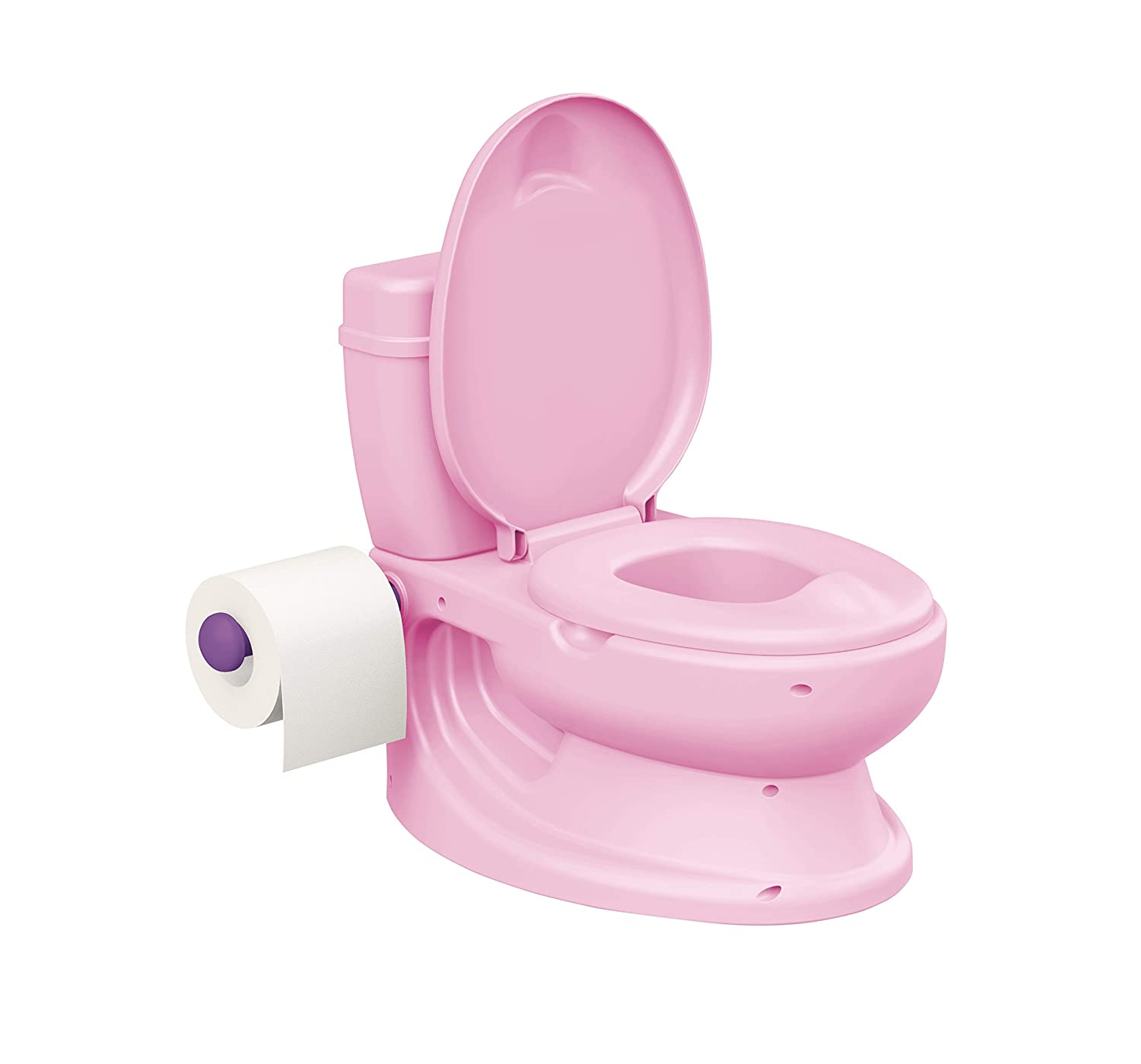 Toylet Potty Training Toilet with Comfy Potty Training Seat Cover, Tank Storage & Paper Roll Holder is A Training Potty for Girls & Boys Or Potty Chair (Pink)