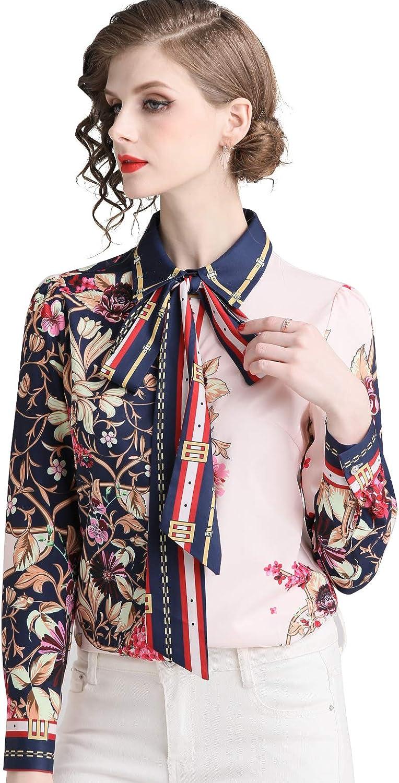 Women's Summer Tie Neck Floral Print Elegant Shirt Casual Long Sleeve Blouse Top