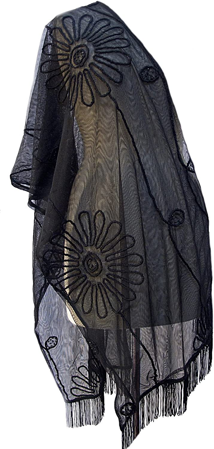 Meena Floral Embroidered Beaded Sheer Tulle Fringe Scarf Stole Shawl Wrap Black