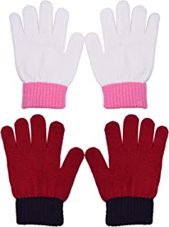 WDSKY Kid's Winter Gloves Magic Knit Wool Stretchy