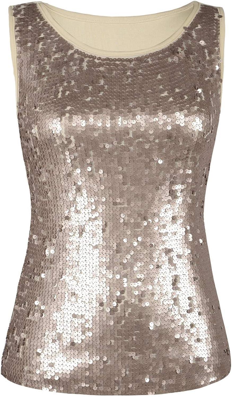 Kayamiya Women's Glitter Sequined Halter Vest Tank Tops