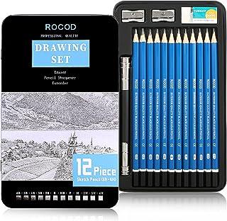 Sketch and Drawing Pencils set,Art graphite sketching pencil with Eraser Sharpener Extender(6B 5B 4B 3B 2B B HB F H 2H 3H ...