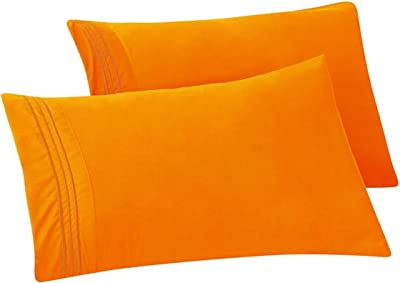 Elegant Comfort 1500 Thread Count Chain Design Egyptian Quality Luxurious Silky Soft Hypoallergenic Wrinkle & Fade Resistant 2 pc Pillow Case- King/California King Elite Orange