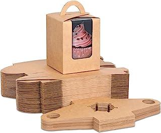 Moretoes - Juego de 60 cajas individuales para cupcakes con ventana e insertos para embalaje de panadería