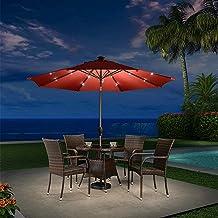 Patio-paraplu, tuinparasol-paraplu met led-verlichting op zonne-energie Grote parasol Tuinkanteling 300 cm / 9.84ft Strand...