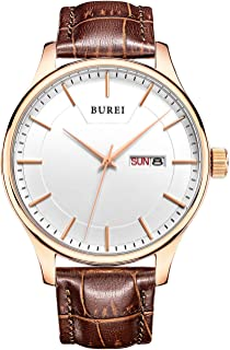BUREI Mens Wrist Watch Cool Black Day Date Analog Quartz Display with Calfskin Leather Band