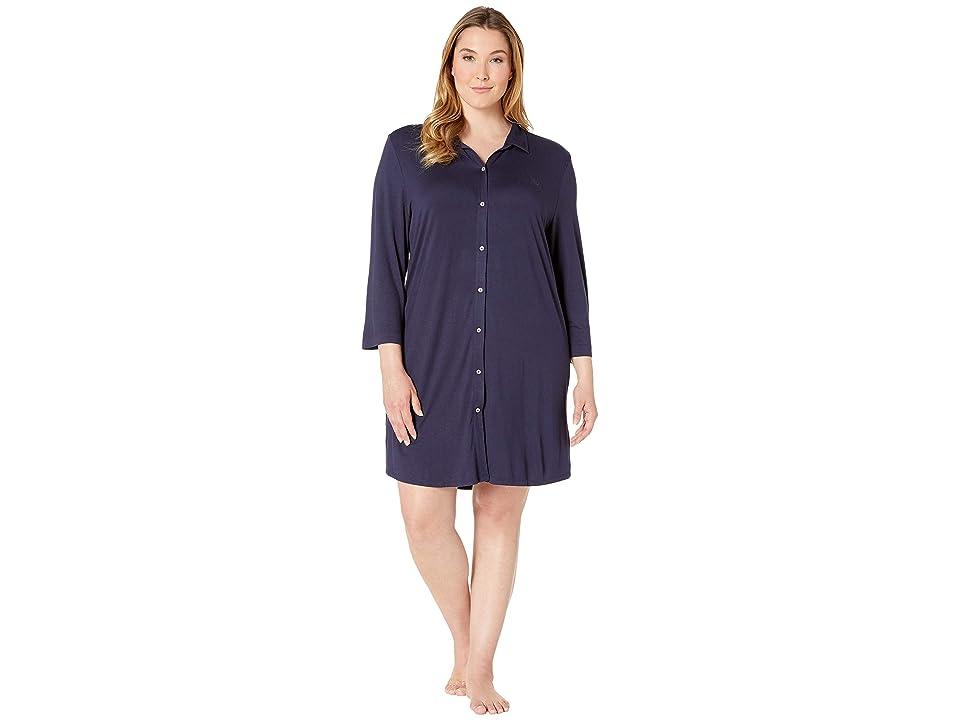 LAUREN Ralph Lauren Plus Size 3/4 Sleeve Short Sleepshirt (Navy) Women