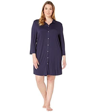 LAUREN Ralph Lauren Plus Size 3/4 Sleeve Short Sleepshirt (Navy) Women