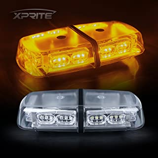 Xprite Yellow Amber 36 LED 18W Mini Bar Strobe Beacon Lights with Magnetic Base, for Law Enforcement Emergency Hazard Warning Trucks