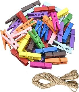 wangjiangda Mini Clips en Bois 50 Pièces Mini Pinces à Linge en Bois Petite Clips pour Papier Photo Suspendus Ficelle Phot...