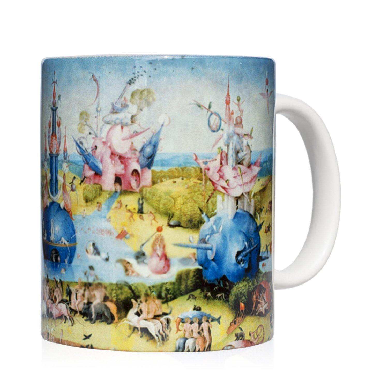 We Love Art Taza mug Desayuno de cerámica Blanca 32 cl. con impresión de Obra de Arte Cuadro El jardín de Las delicias Autor El Bosco: Amazon.es: Hogar