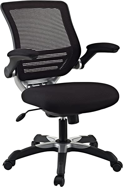 Modway Edge Mesh Back And Mesh Seat Office Chair In Black With Flip Up Arms Perfect For Computer Desks