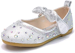 Panegy Niña Merceditas de Cuero Zapatos Planos Mary Jane Merceditas del Piel Zapatos de Lentejuelas Velcro Tamaño 26-32