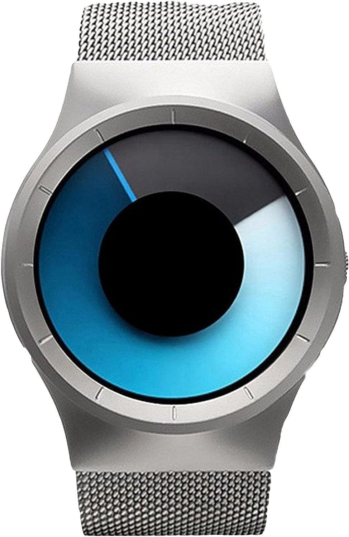 Carlien Quartz Men's Wrist Watch OFFicial shop Round Steel Crea Mesh Stainless Popular