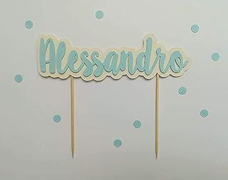 Fantacartando Cake topper con nome, personalizzabile, in cartoncino, con scritta in rilievo, per compleanno, nascita, Batt...