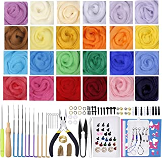 Jupean Needle Felting Kit, Wool Felt Tool Kit with 24 Colors Wool Roving Yarn, Felting Needles, Felting Foam Mat, Wool Felting Supplies, Great for Arts & Crafts & Easy for Beginners