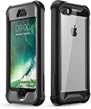 i-Blason Ares Designed for iPhone SE Case, iPhone 5s/5 case, Full-Body Rugged Clear Bumper Case with Built-in Screen Protector for Apple iPhone SE 2016 Release (Compatible with iPhone 5s/5) (Black)