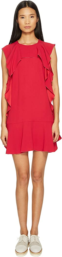 RED VALENTINO - Crepe Envers Satin Dress with Ruffle