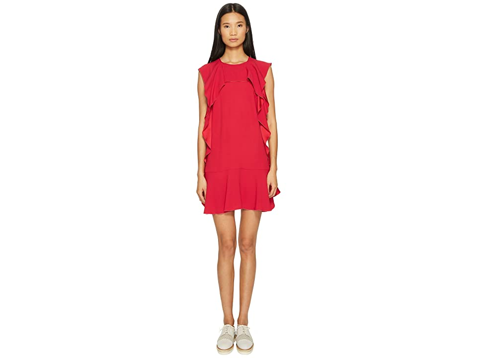 RED VALENTINO Crepe Envers Satin Dress with Ruffle (Pink) Women