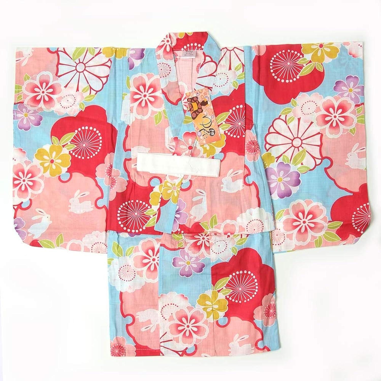 子供浴衣 女の子 100cm 3~4才 単品 水色地 花柄