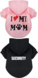 SATINIOR 2 Pieces Pet Clothes Puppy Hoodie Sweater Dog Pullover Sweater I Love My Mom Dog Sweatshirt Warm Sweater