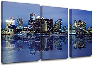 Colorful Panoramic Boston Skyline Modern Art Work Cityscape Pictures Paintings on Canvas..