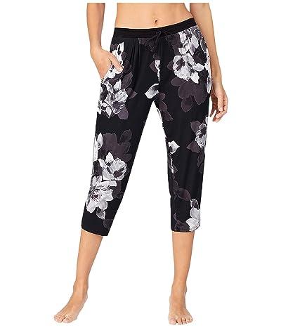 Donna Karan Modal Spandex Jersey Capris Pants (Black Large Floral) Women
