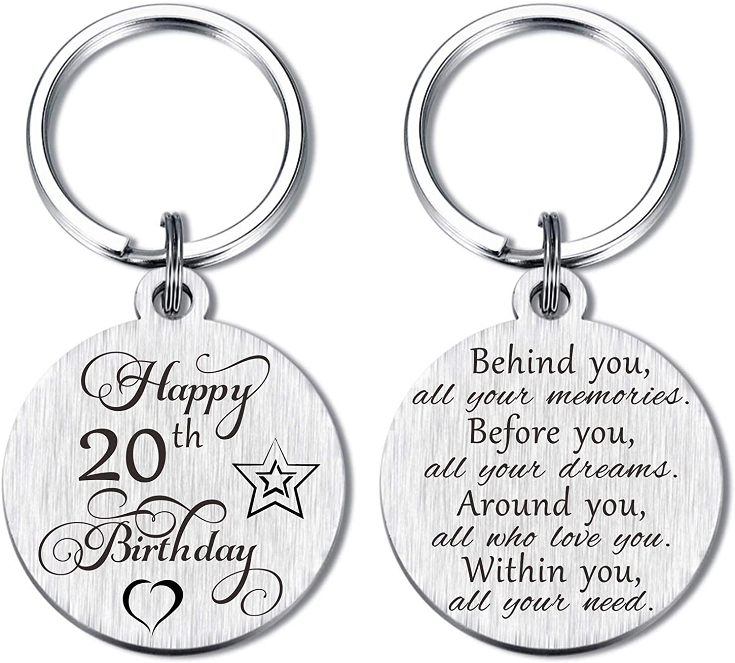 Laluminter Happy Birthday Gifts Keychain Presents for Girls Women Boys Men, Double Sides Engraved