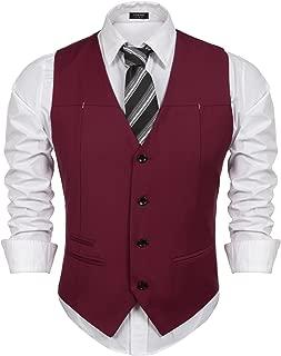 COOFANDY Men's Business Suit Vest Slim Fit Dress Waistcoat Vests